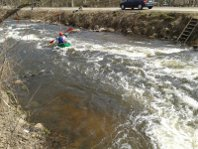 The river Voke. Canoe slalom channel at Grigiskes town